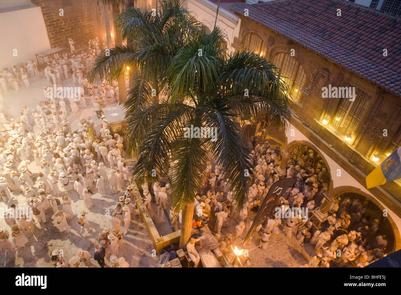 Traditional talcum powder festival to celebrate the homecoming from the colonies, Fiesta de los Indianos, Santa - Stock Image