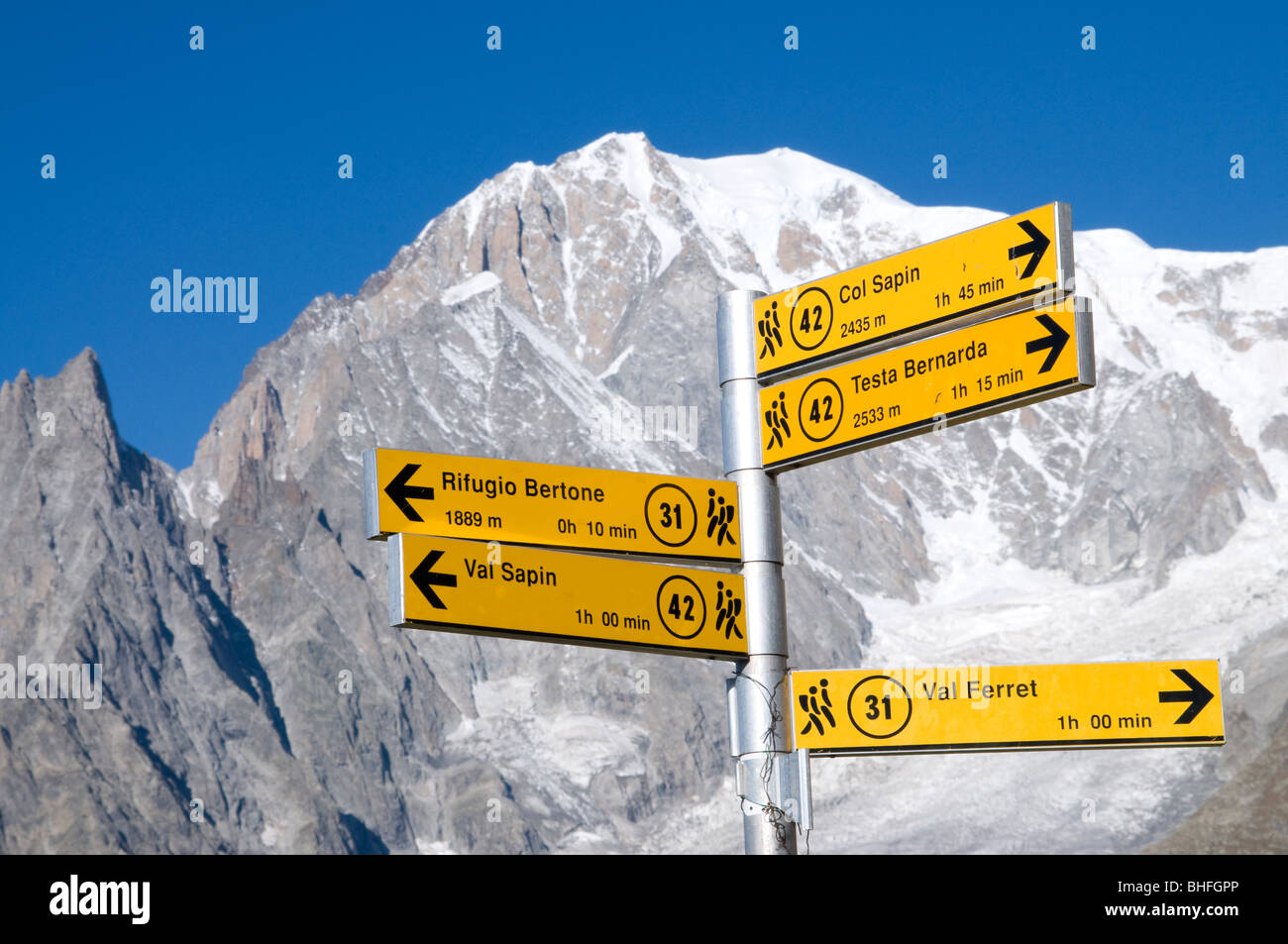 mont blanc (monte bianco), courmayeur, valle d'aosta, italy - Stock Image
