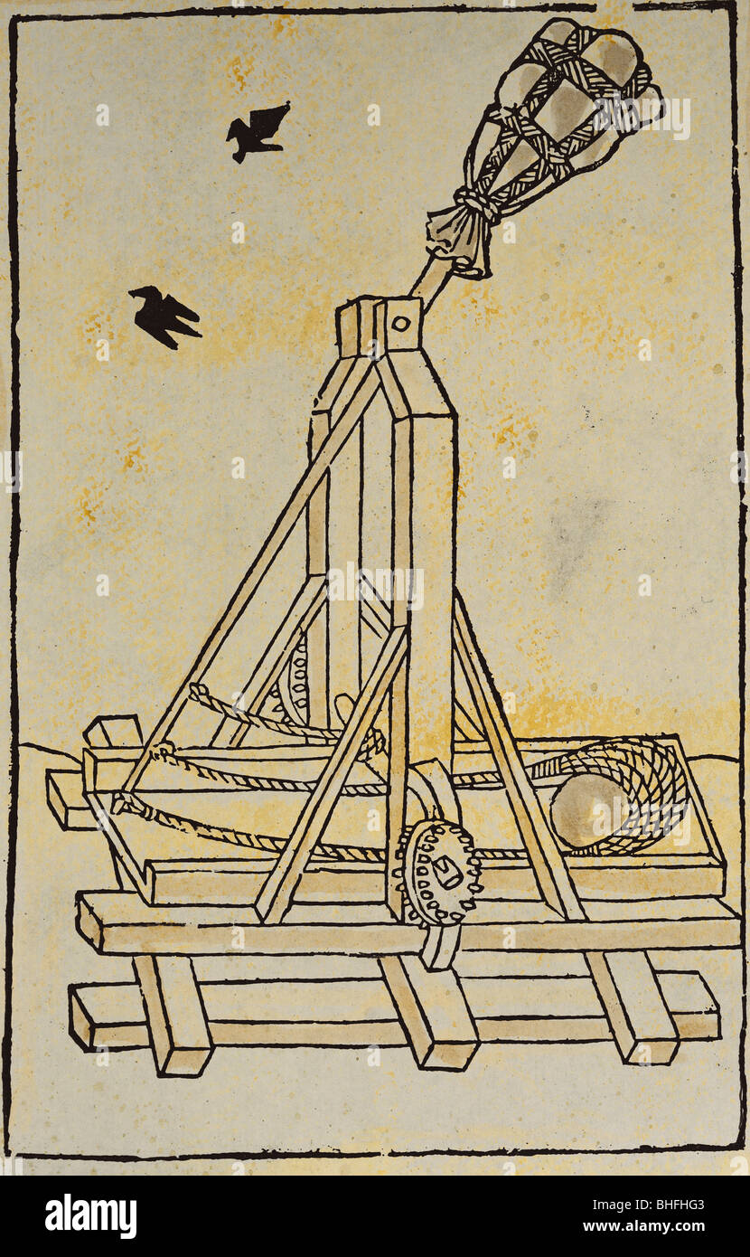 Trebuchet Siege Stock Photos Images Alamy Diagram The Following Military Coloured Woodcut De Re Militari By Roberto