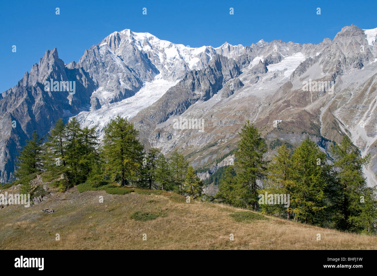 val ferret and mont blanc (monte bianco), courmayeur, valle d'aosta, italy - Stock Image