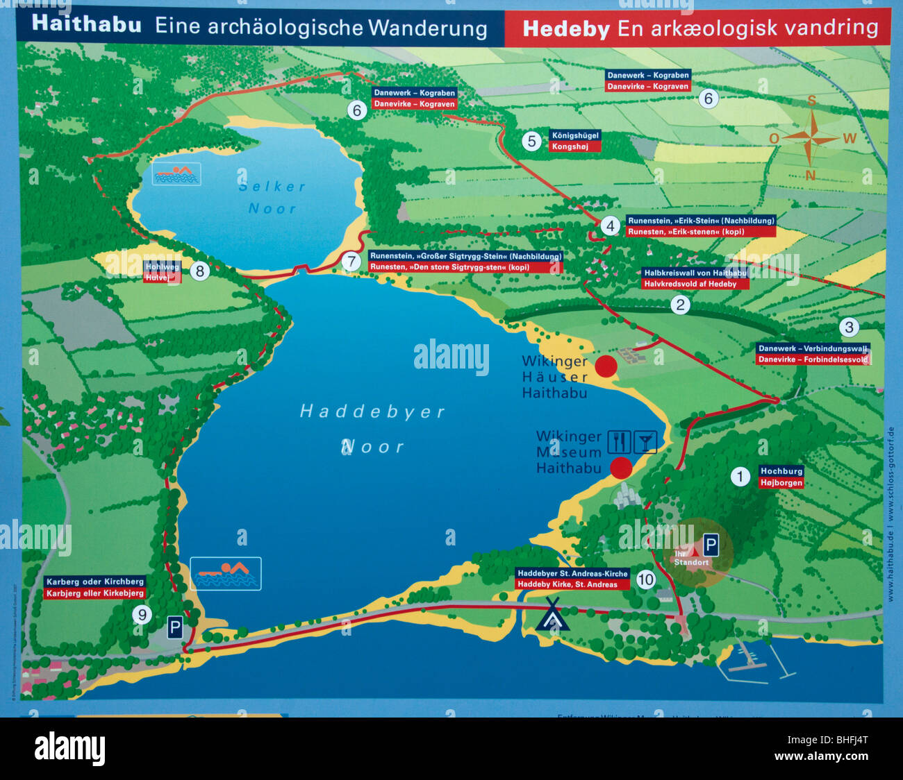 Map sign giving an overview of the Haithabu area i Schlesvig in northern Germany - Stock Image