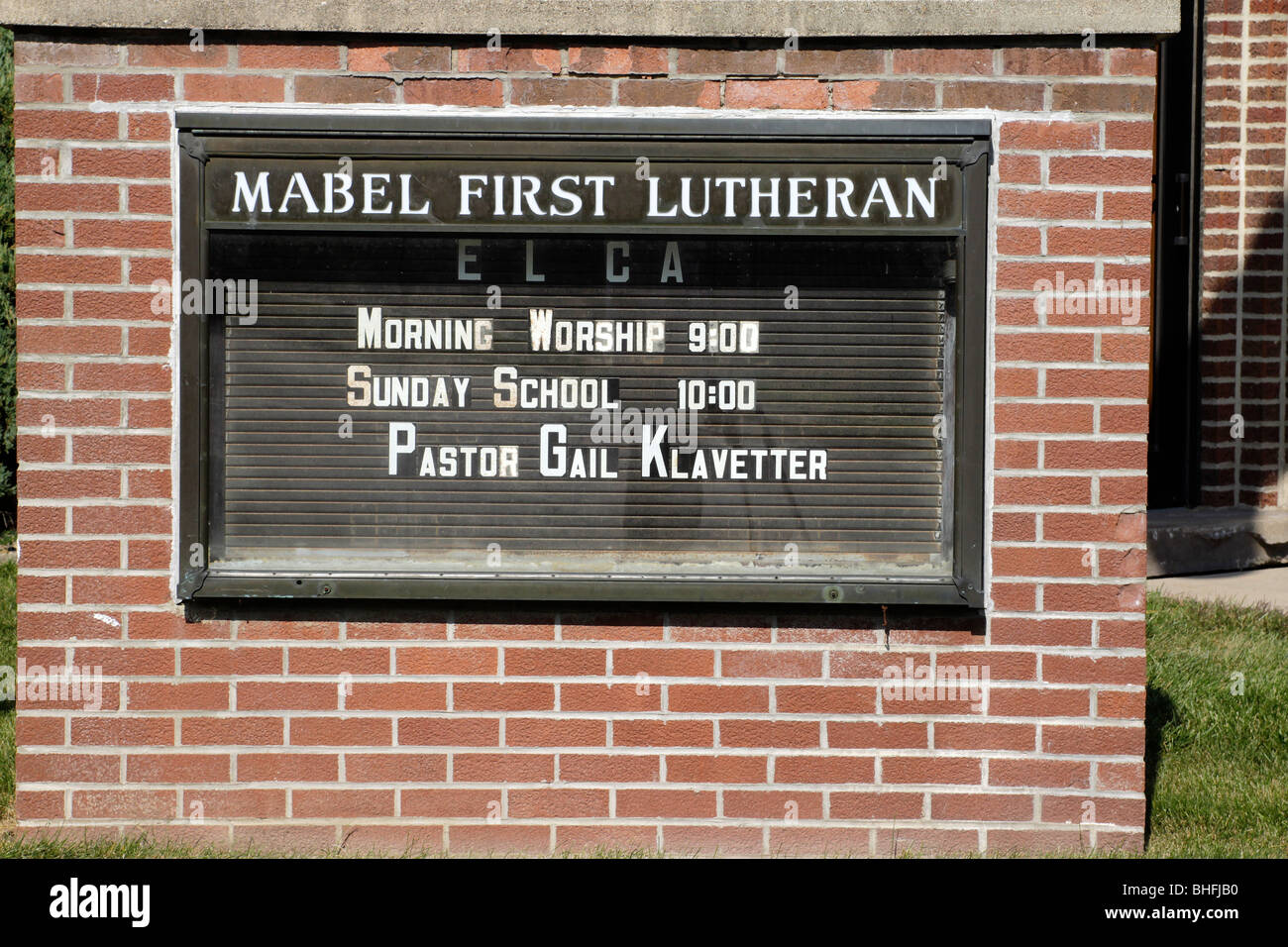 Sign in front of Mabel Minnesota First Lutheran Church, part of the Evangelical Lutheran Church of America - Stock Image