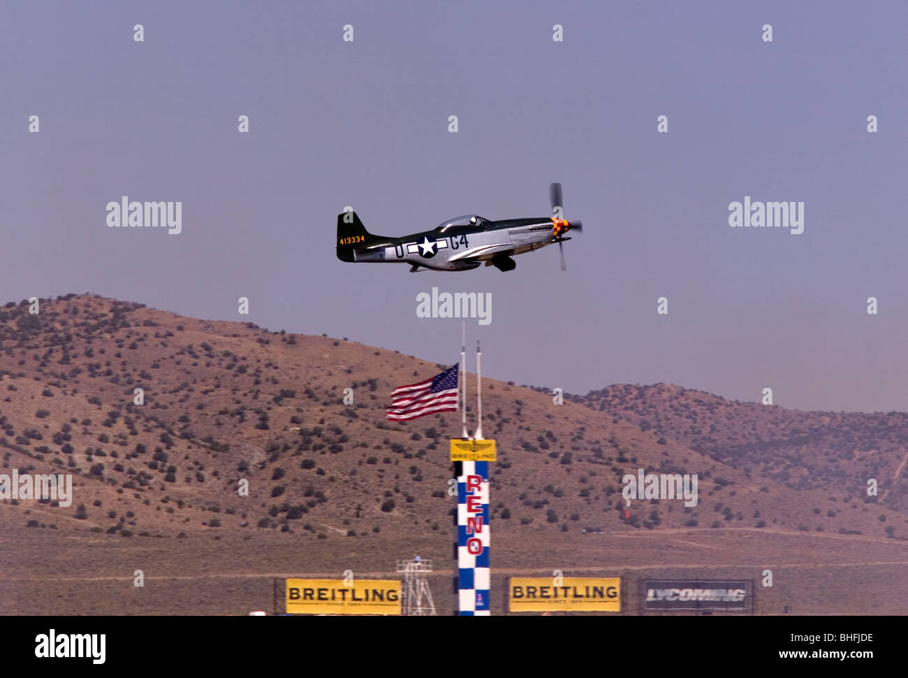 P51 Mustang in Unlimited Gold cup race. reno Air Races 2008 - Stock Image