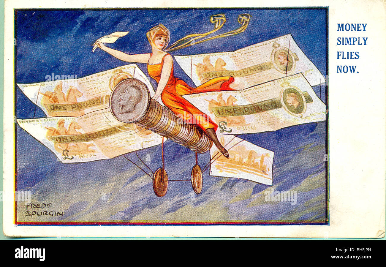 Picture postcard titled Money Simply Flies Now by Fred Spurgin. - Stock Image