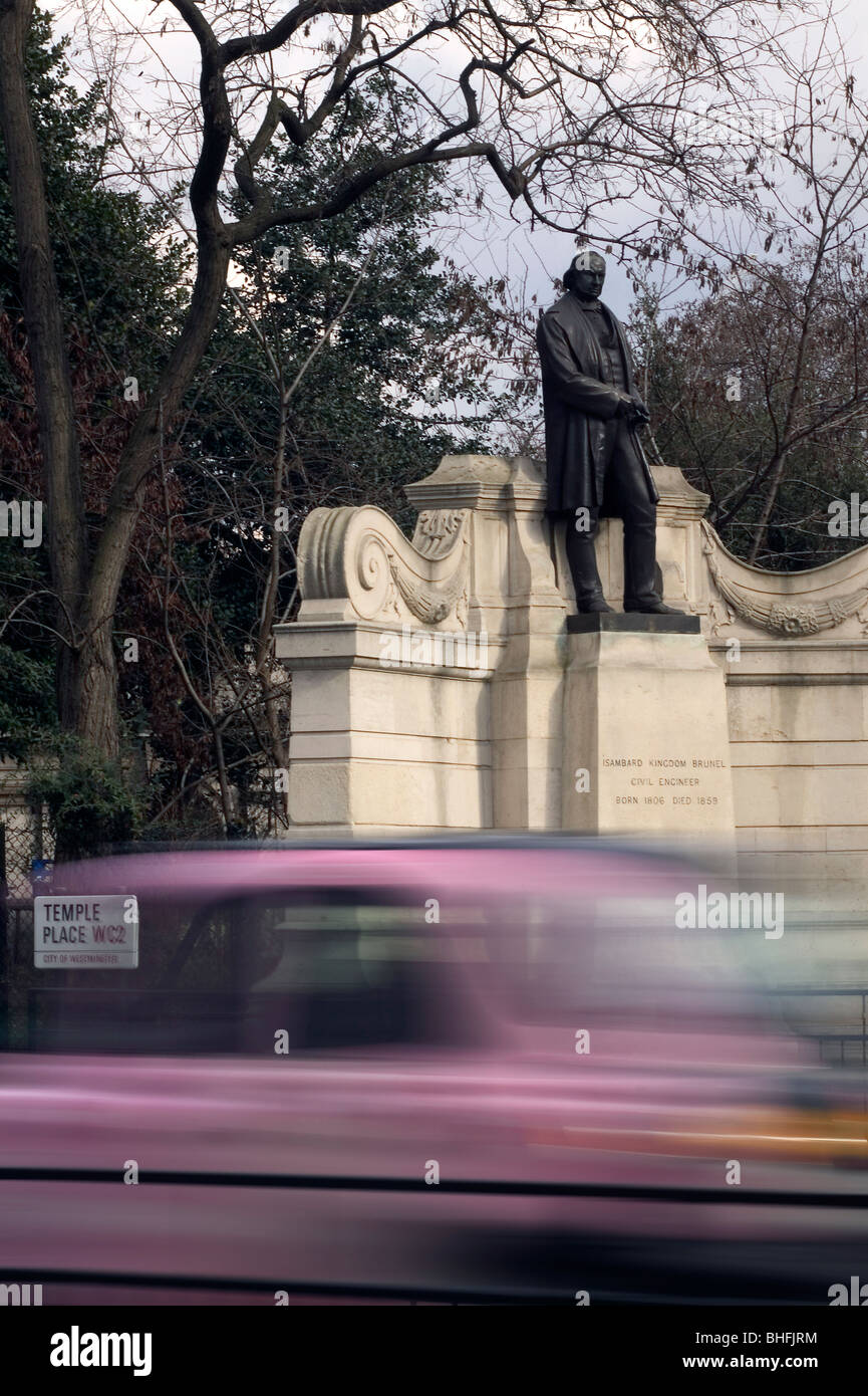 Statue of Isambard Kingdom Brunel in Temple Place London UK - Stock Image