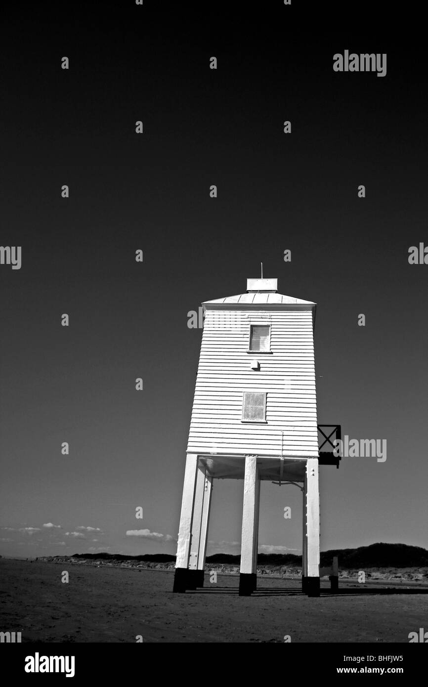 The historic lighthouse at the seaside resort of Burnham-on-Sea, Somerset. - Stock Image