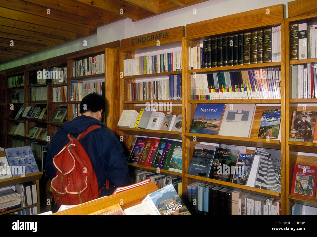 French, man, French student, student, college student, university student, bookseller, bookshop, bookstore, Bayonne, Stock Photo