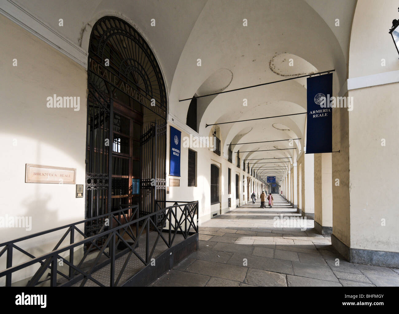Portico outside the Armeria Reale (Royal Armoury), Piazza Castello, Turin, Piemonte, Italy - Stock Image