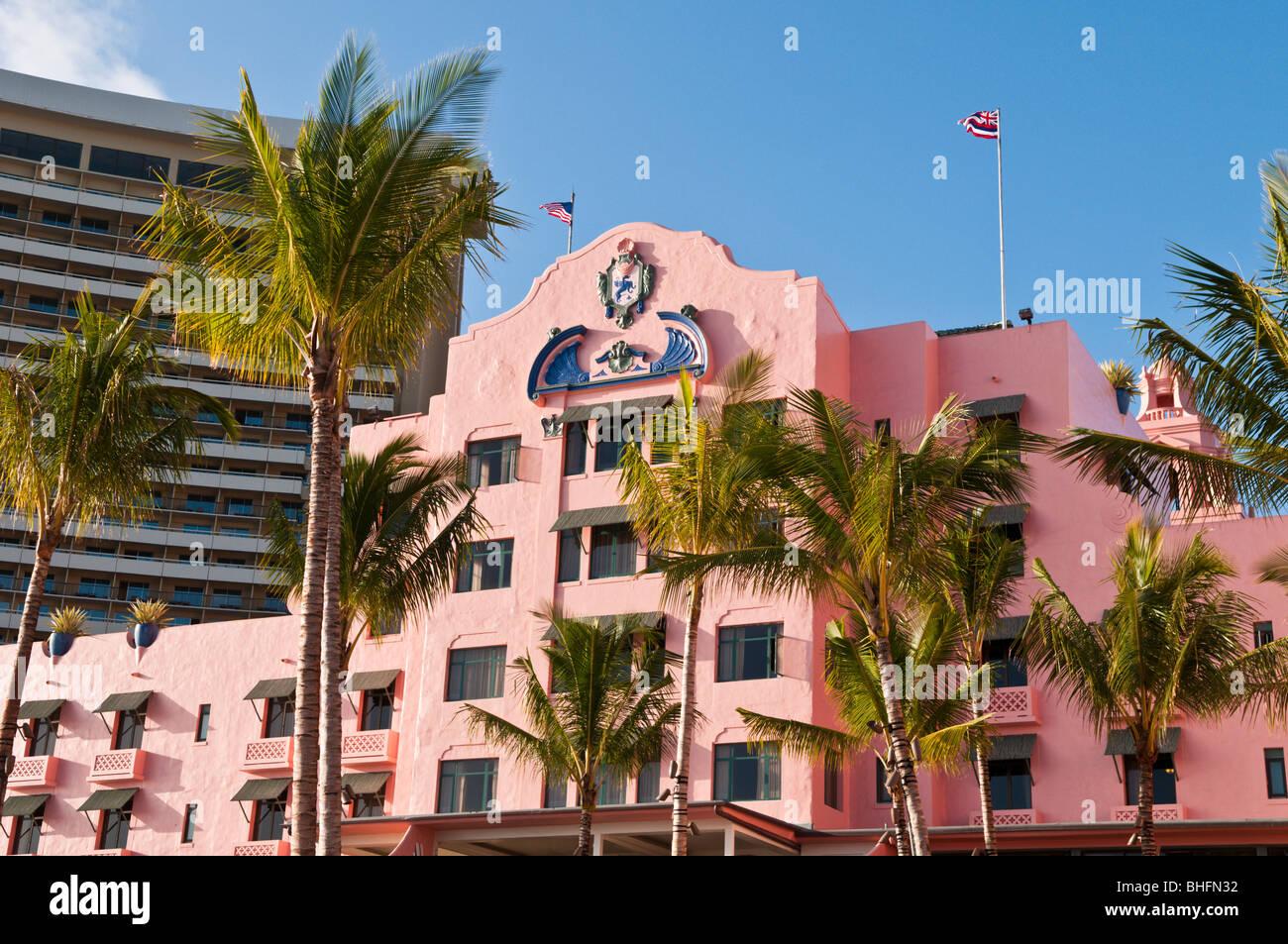 Royal Hawaiian Hotel, Waikiki, Oahu, Hawaii - Stock Image