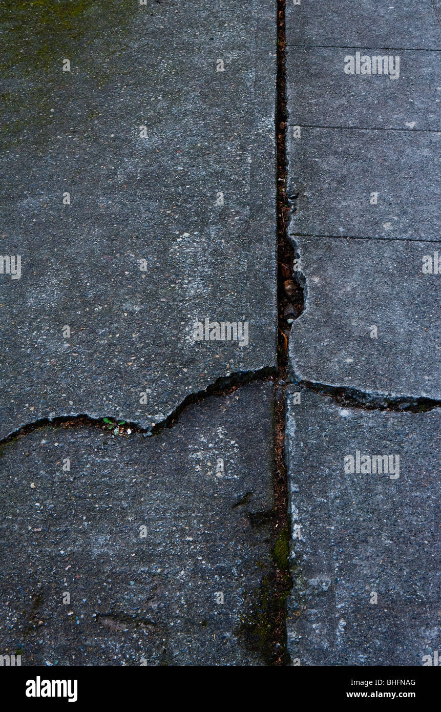 A cracked concrete sidewalk - Stock Image