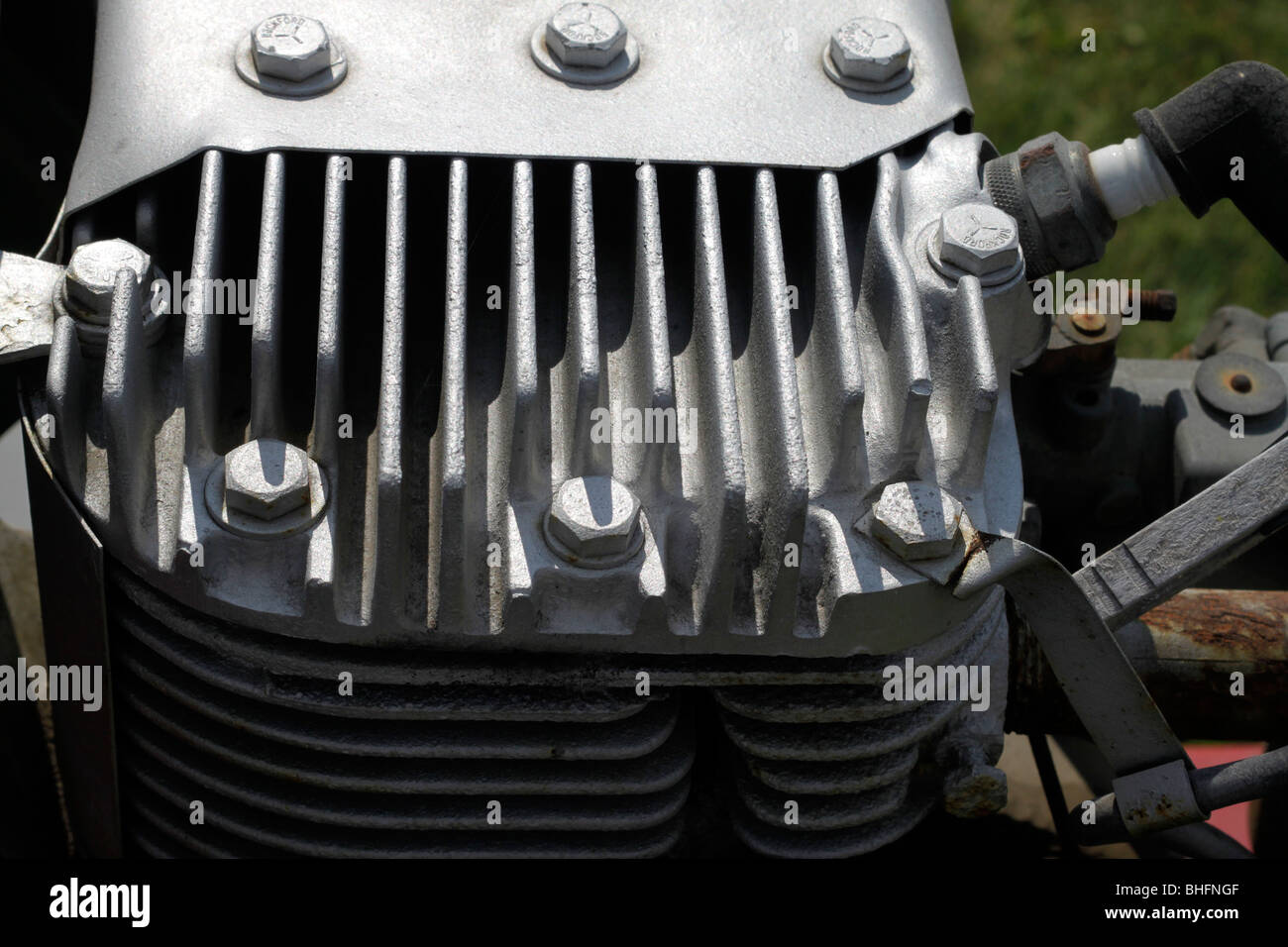 Air cooling fins on cylinder head of small side valve engine Stock Photo