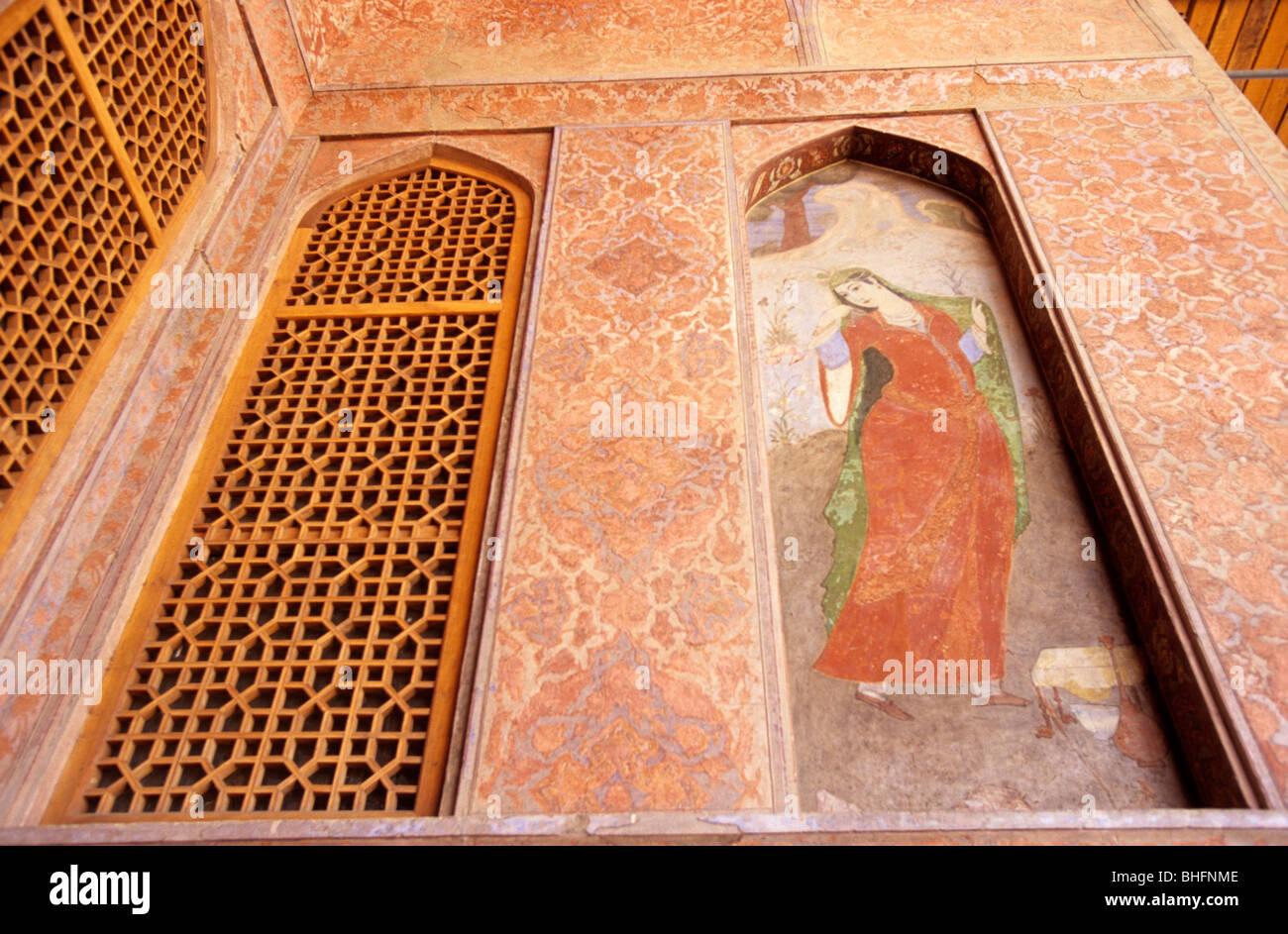 Fresco in Ali Qapu palace, Isfahan, Iran Stock Photo
