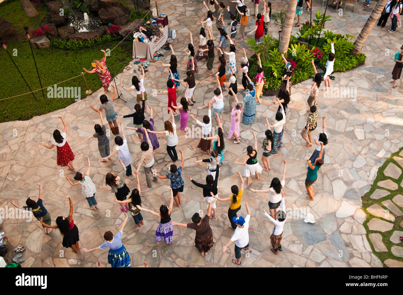 Hula dancing class, Waikiki, Honolulu, Oahu, Hawaii - Stock Image