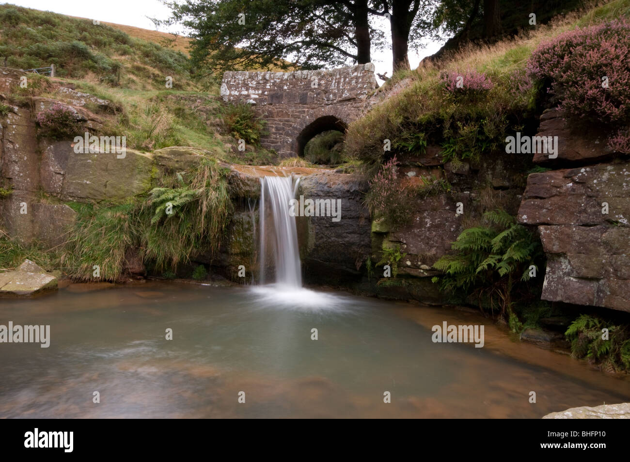 Waterfall at Three Shire's Head - - Stock Image