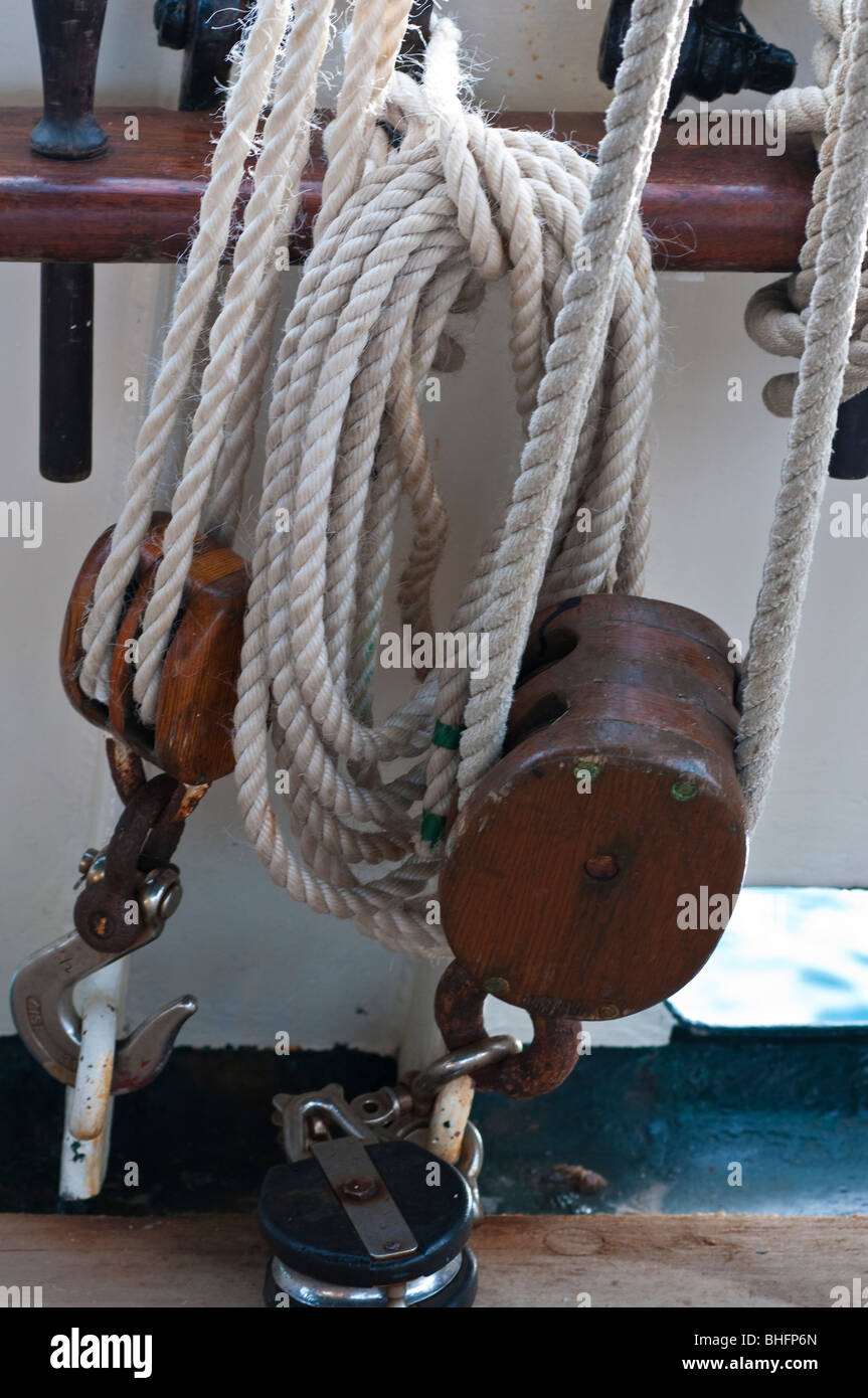 Ship's rigging on the sailing tall ship, Solway Lass - Stock Image