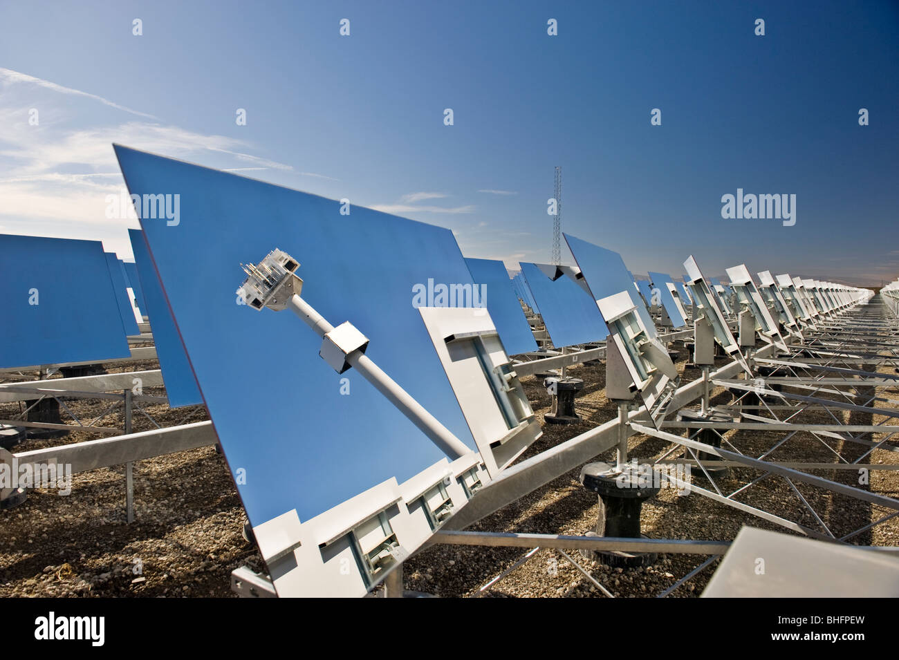 Heliostat Mirrors With Reflection Of A Tower Mounted