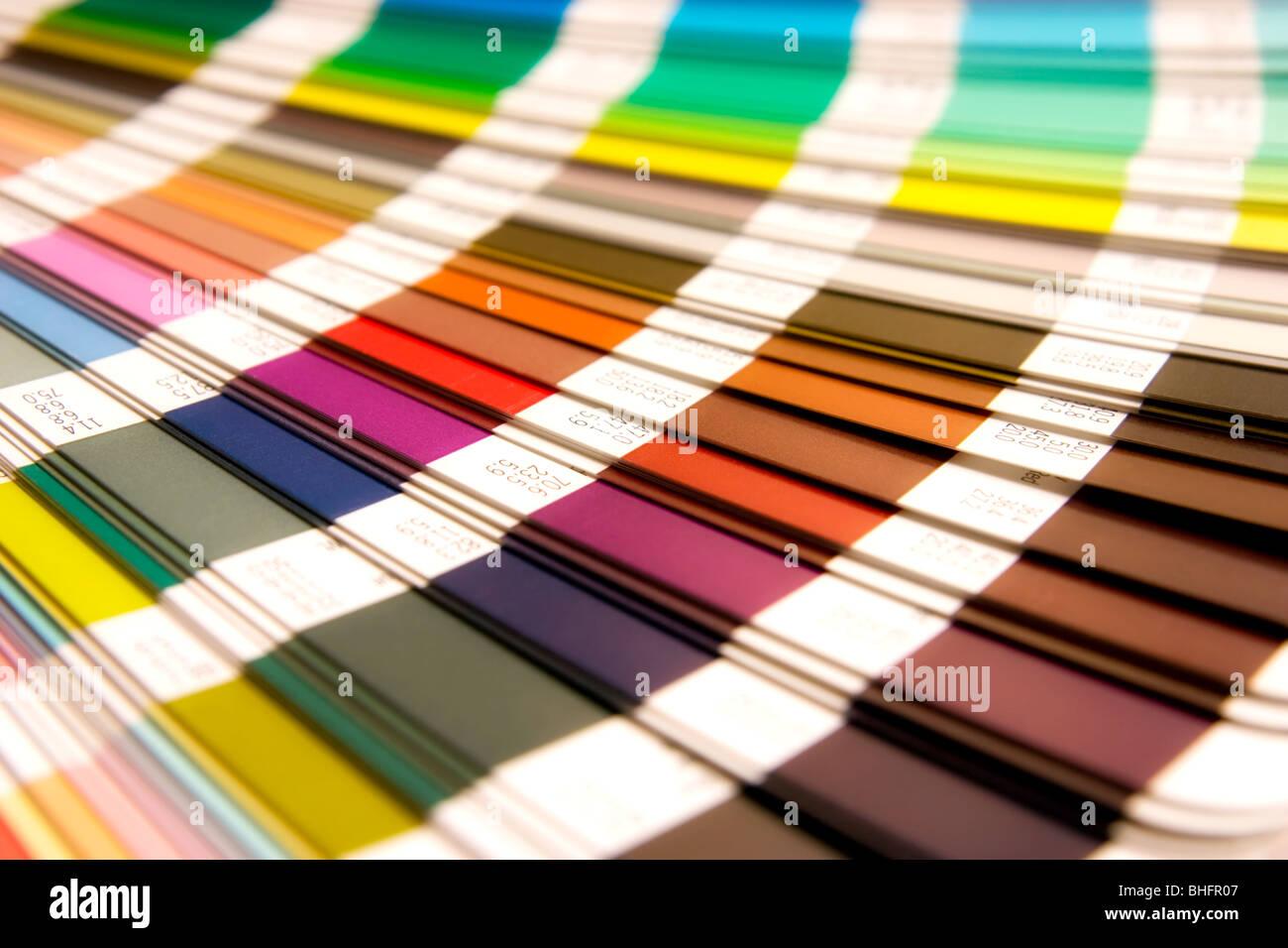 open Pantone sample colors catalogue - Stock Image