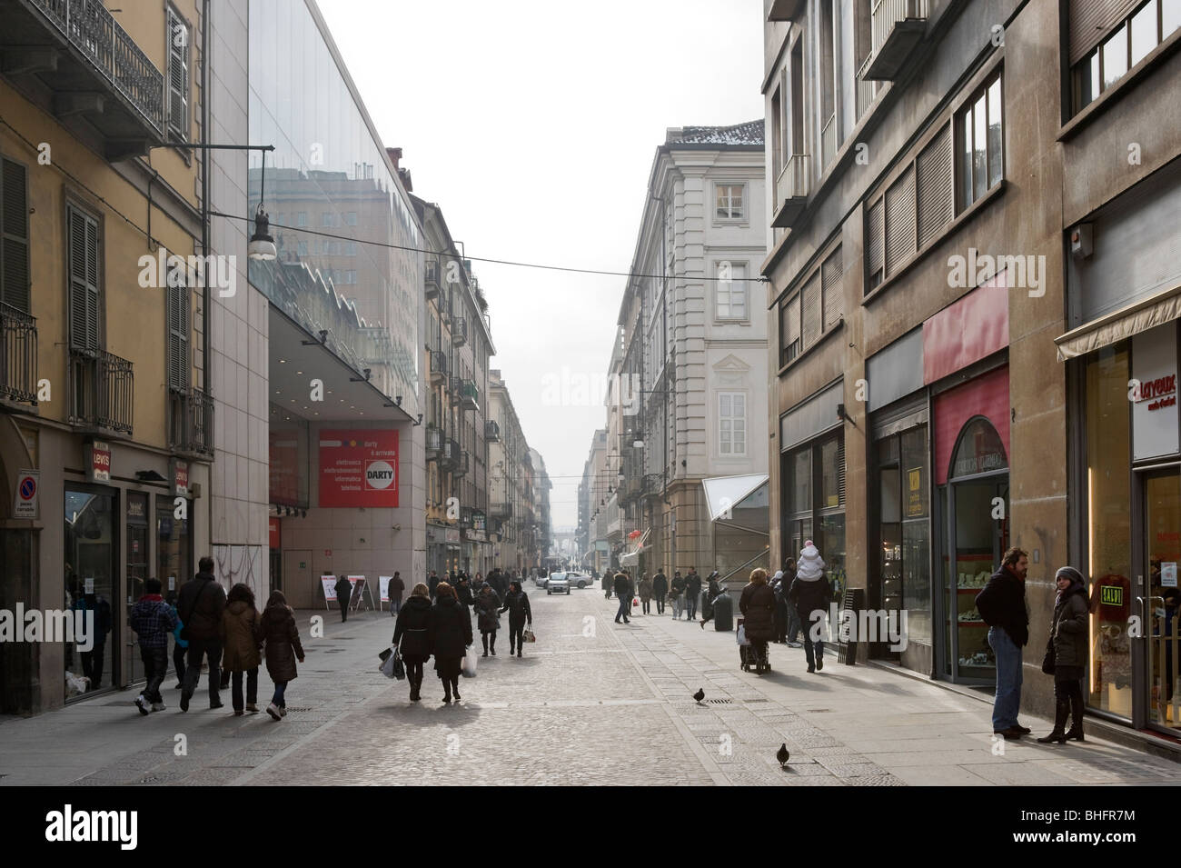 Shops on Via Lagrange in the historic centre, Turin, Piemonte, Italy - Stock Image