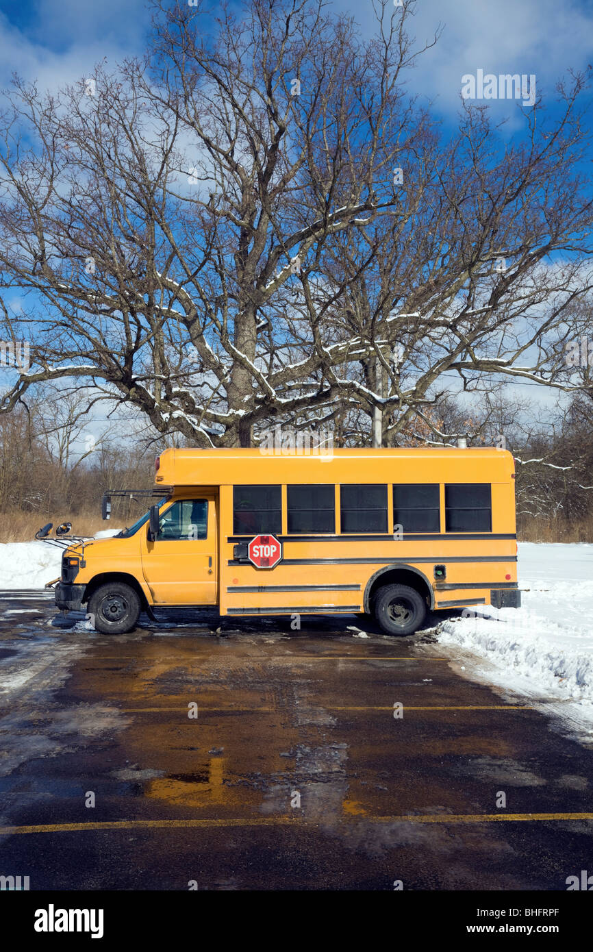 Small school bus on the parking lot Stock Photo: 28007463