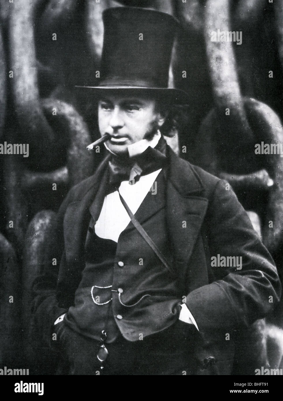 ISAMBARD KINGDOM BRUNEL  - English engineer and inventor (1806-59) in front of the chains of the Great Eastern - Stock Image