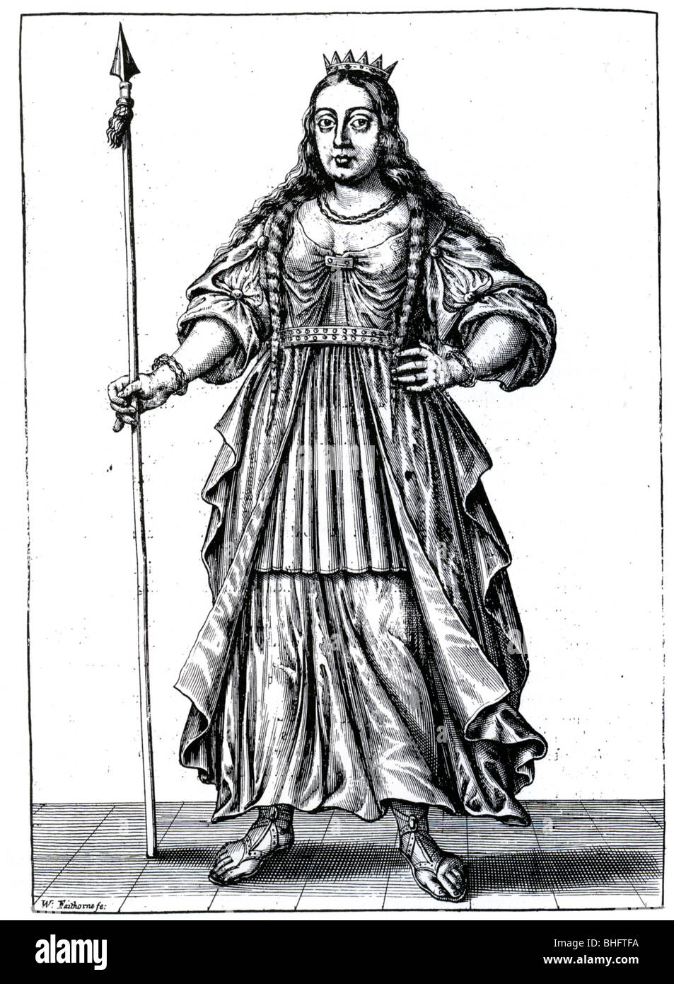 BOUDICCA (aka Boadicea) - British warrior queen who died in 61 AD as imagined in a 17th century engraving - Stock Image