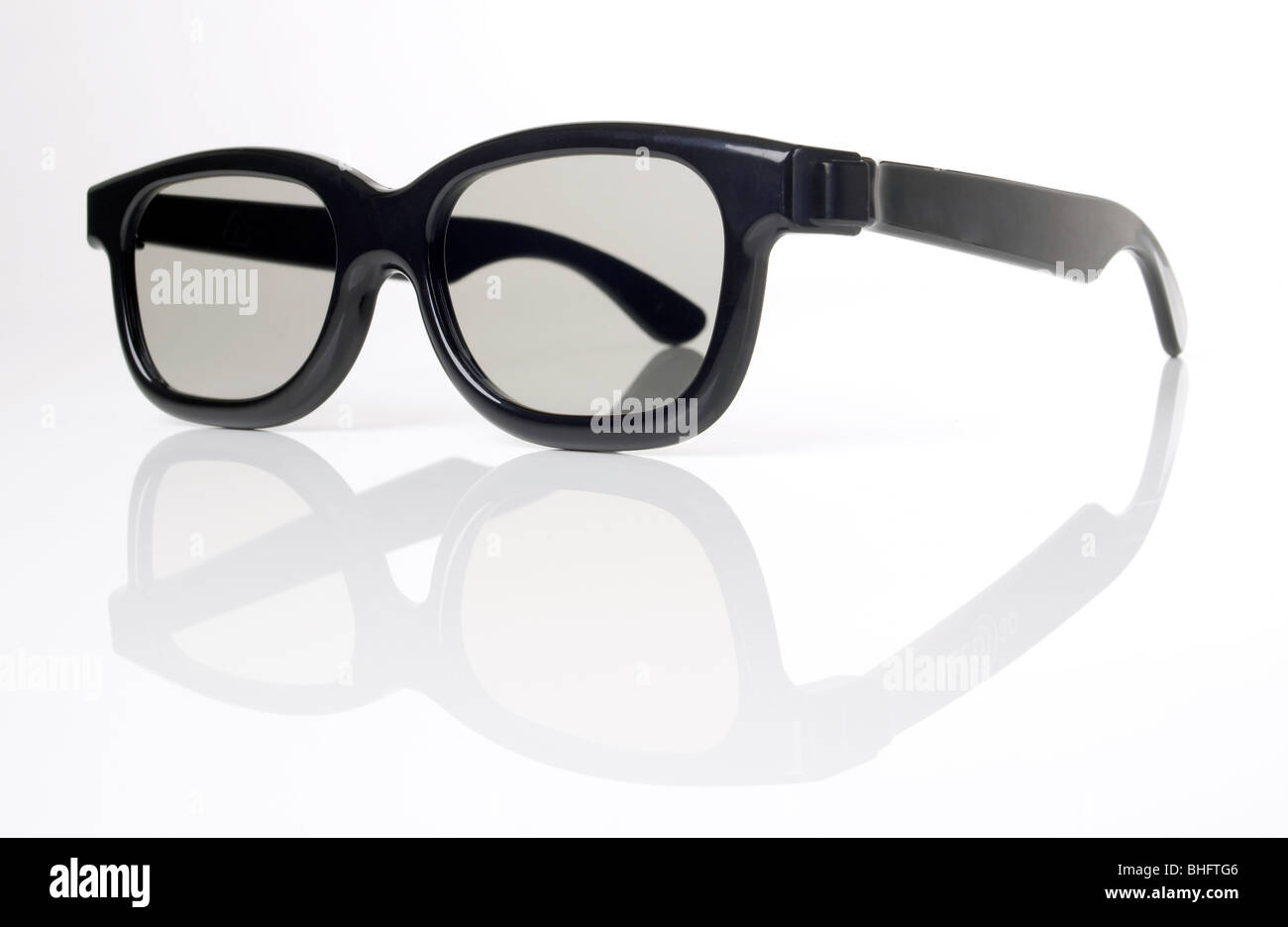 Black frame 3D glasses - Stock Image