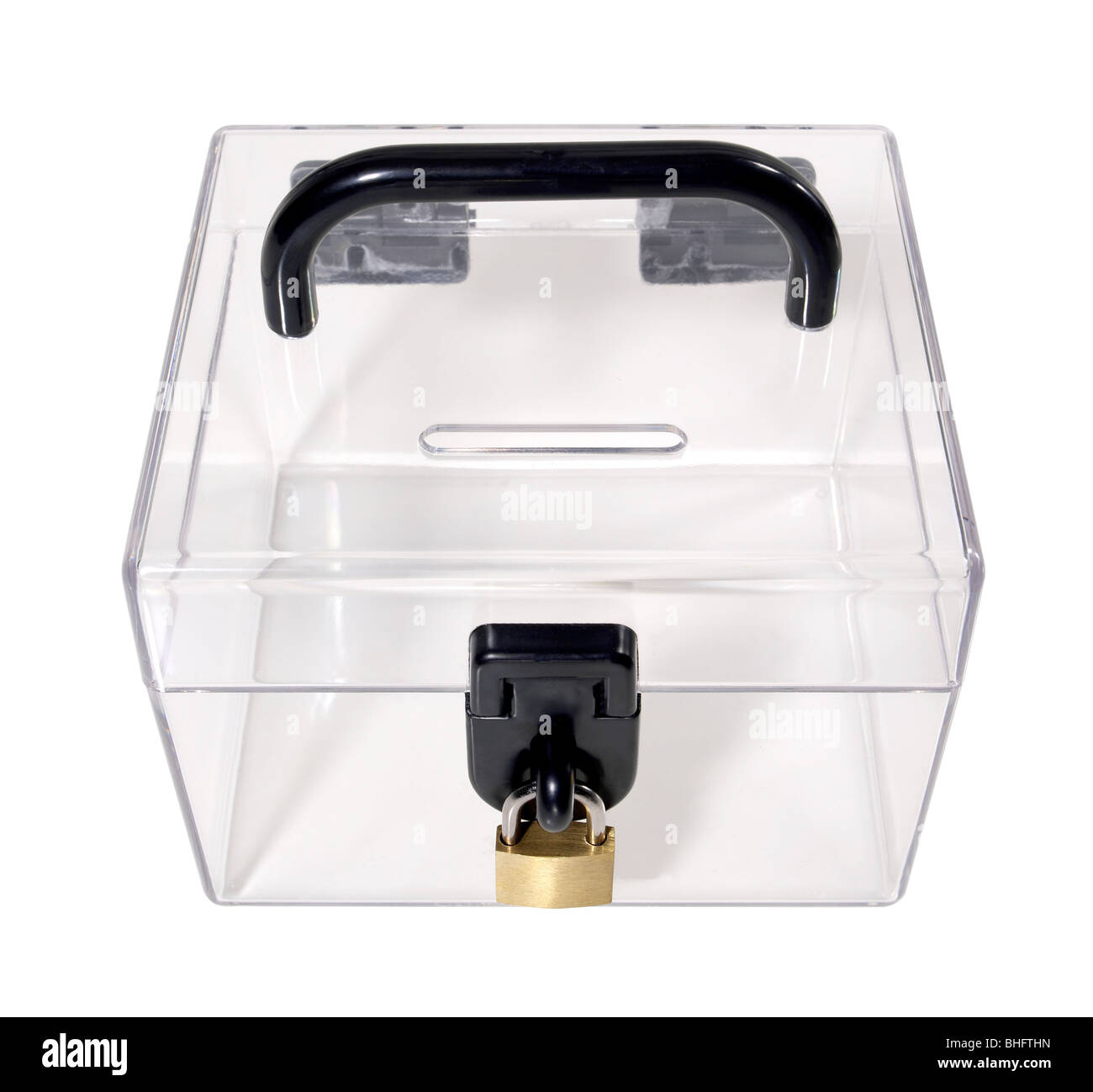 Plastic Bank with lock - Stock Image