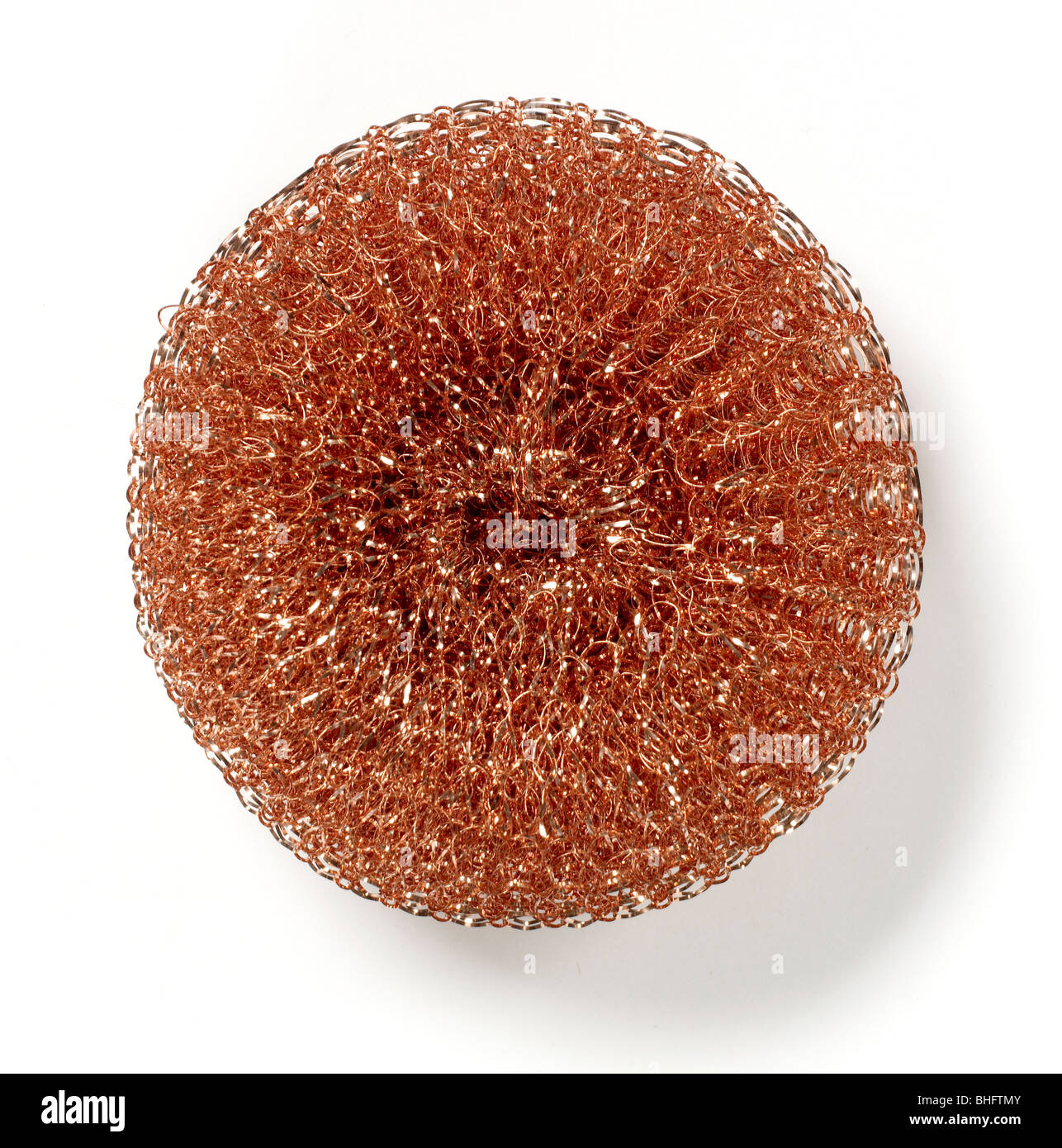 Copper wire scouring pad - Stock Image