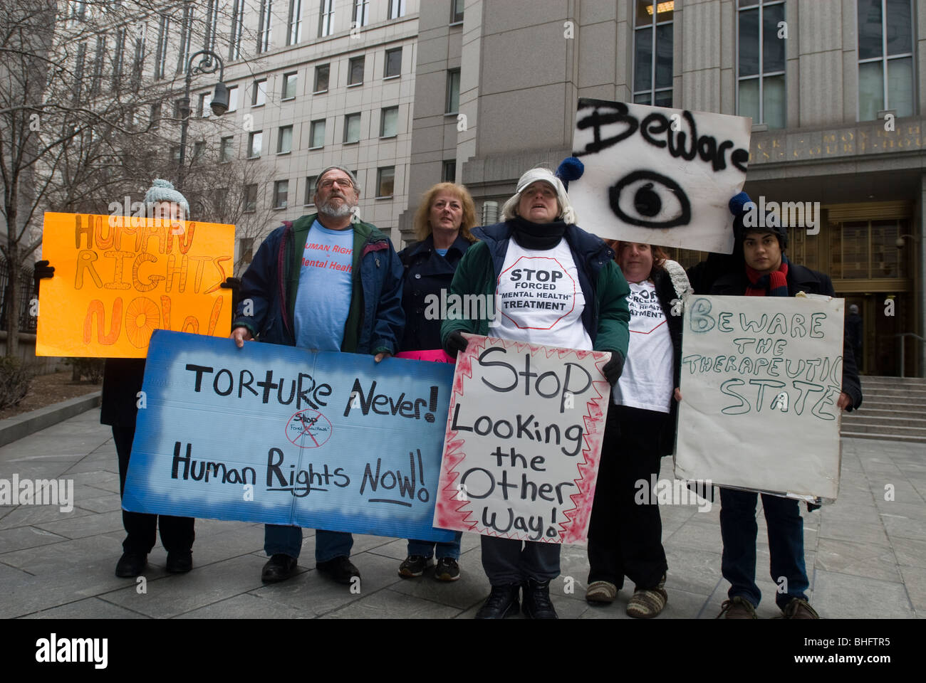 Supporters of the Law Project for Psychiatric Rights rally in front of Federal Court at 500 Pearl Street in New - Stock Image