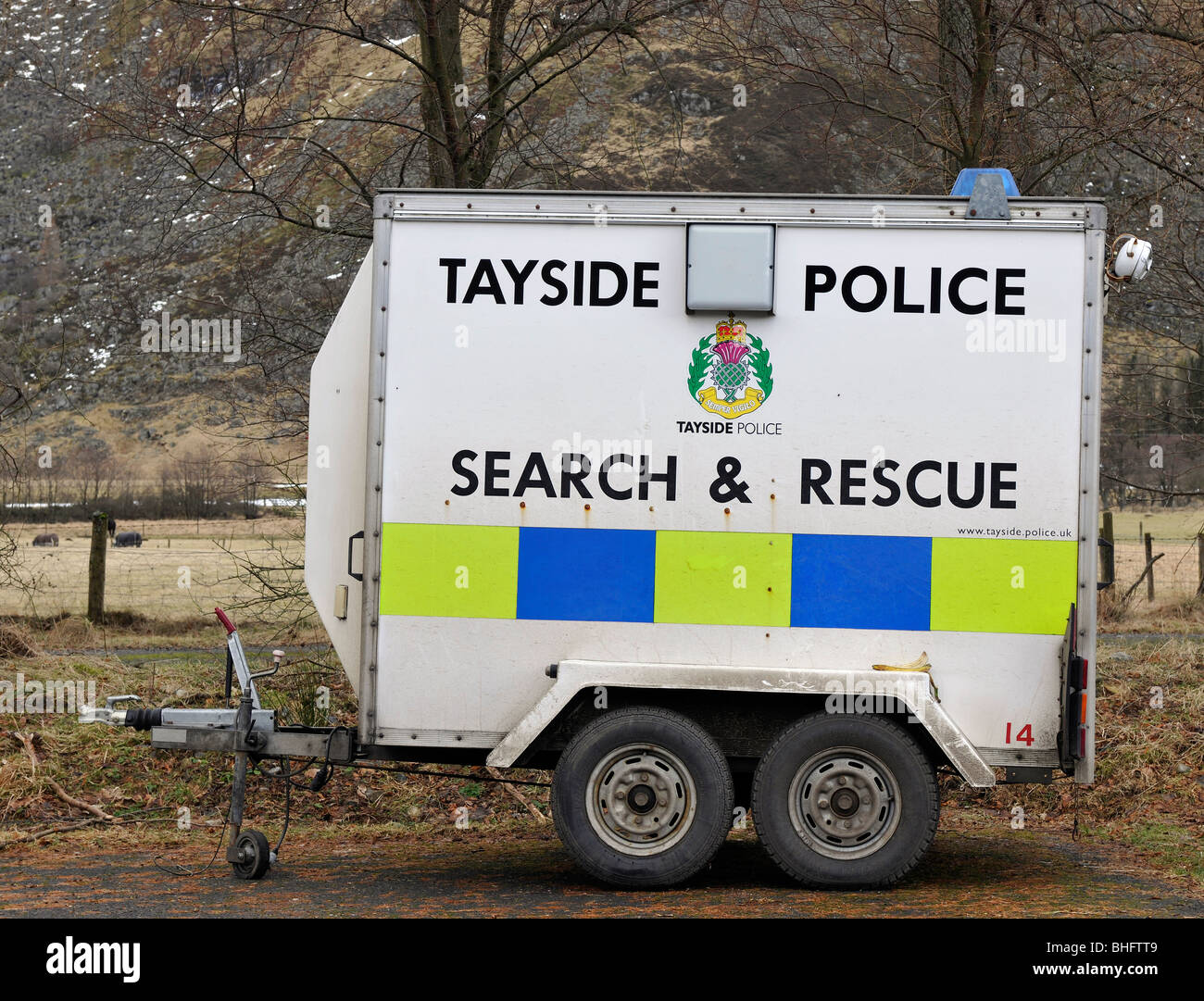 Equipment Trailer of the Search and Rescue Team, Tayside Police, Scotland. - Stock Image