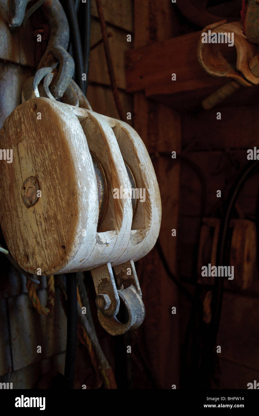 Wooden pulley system