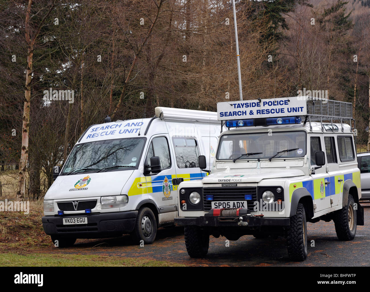 Mountain Rescue Vehicles of the Tayside Police, Glen Clova, Angus, Scotland, UK - Stock Image