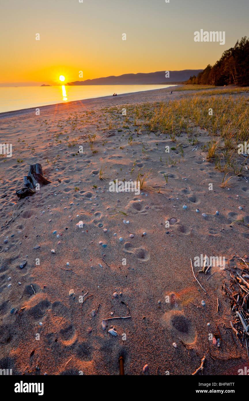 Agawa Bay at sunset, Lake Superior, Lake Superior Provincial Park, Ontario, Canada. - Stock Image