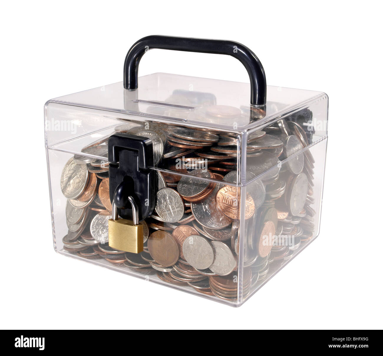 Plastic bank filled with coins - Stock Image