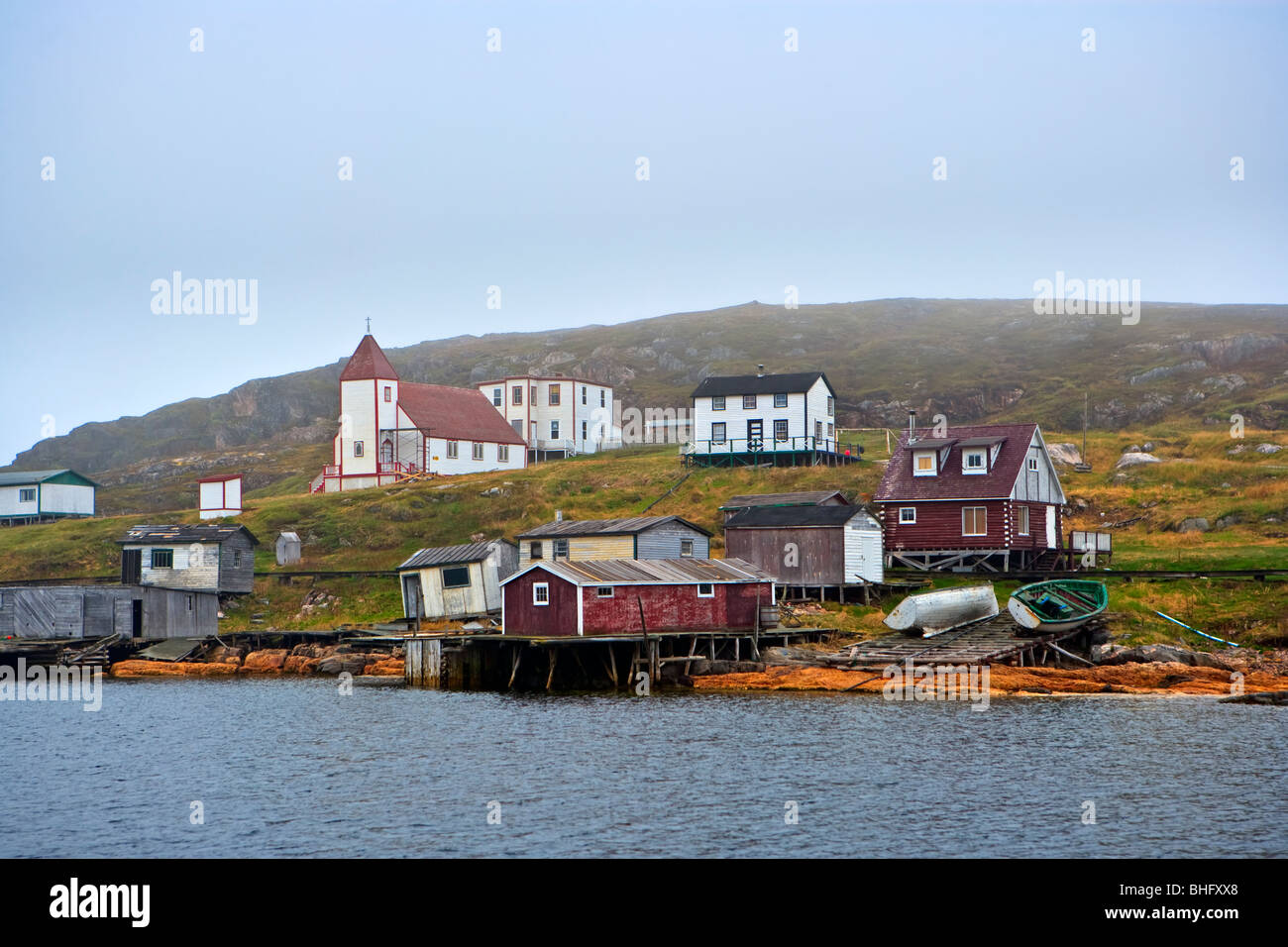 The historic fishing village of Battle Harbour situated on Battle Island at the entrance to the St Lewis Inlet. - Stock Image