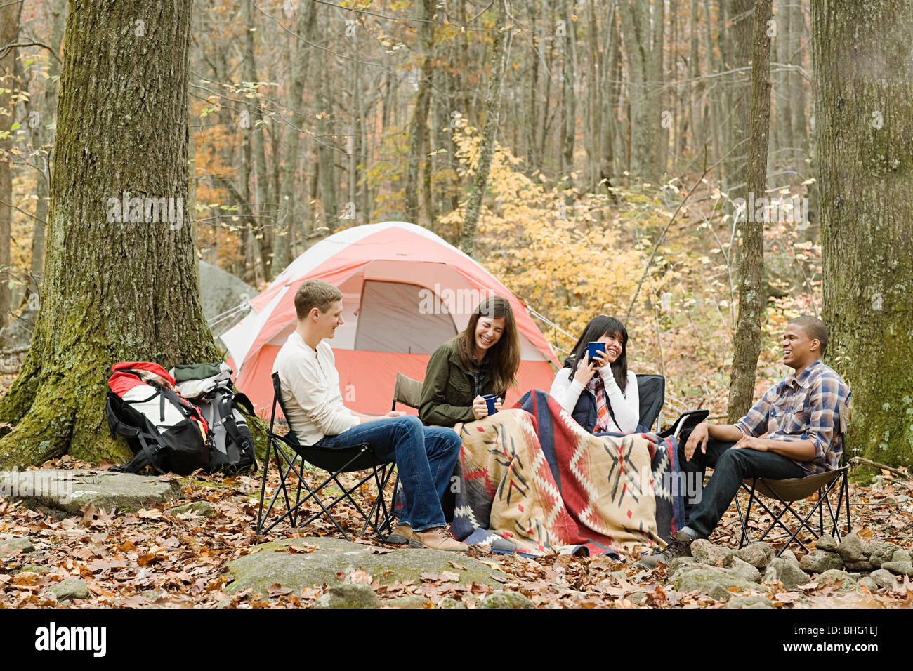 Friends at campsite - Stock Image