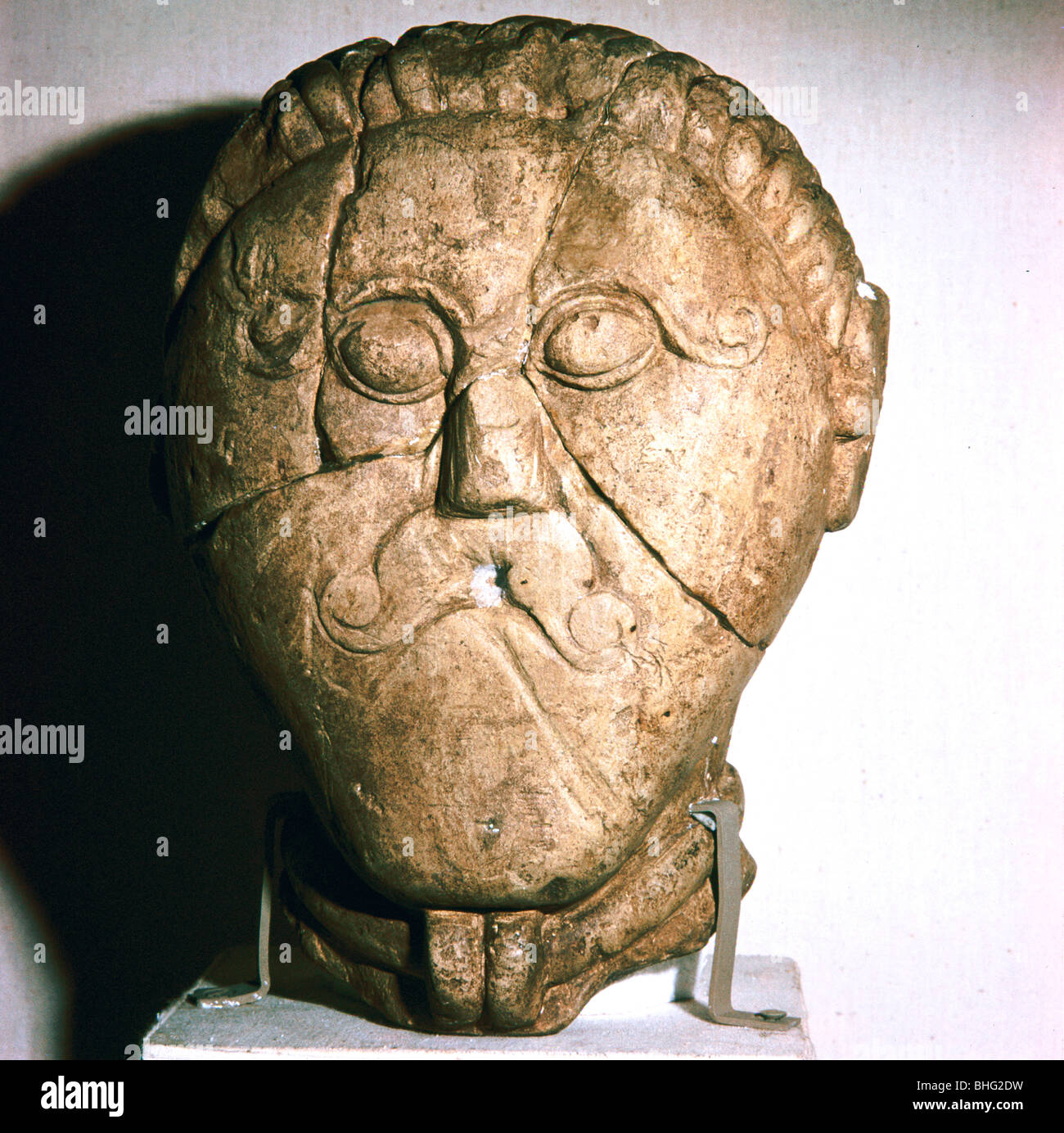 Celtic Head, Mseke Zehrovice, Czechoslovakia, c3rd - 2nd century BC. - Stock Image