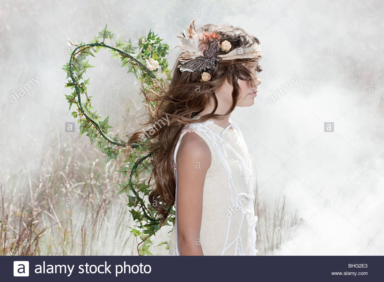 Girl dressed as a fairy - Stock Image