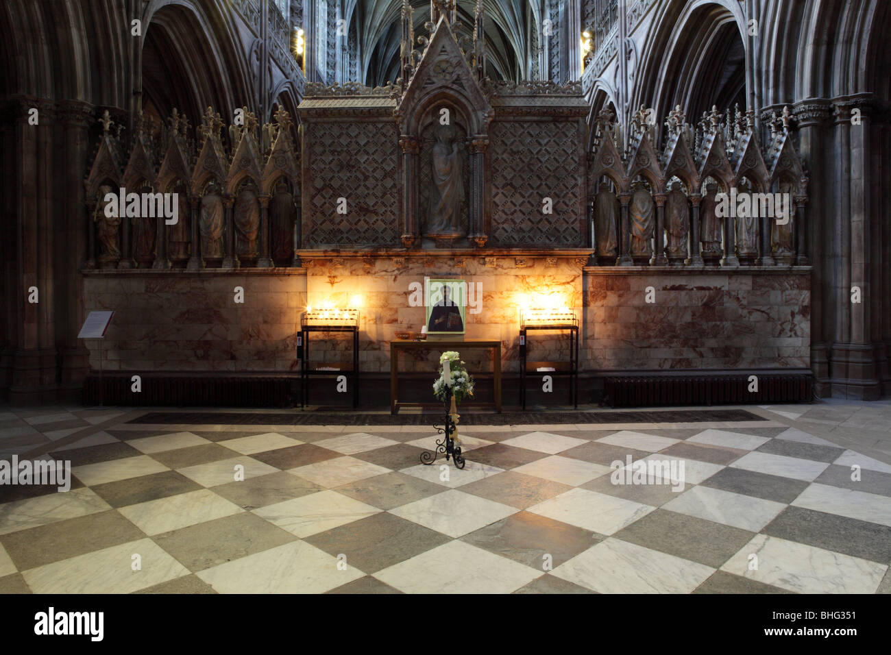 Subtle light adorns the Shrine of Saint Chad at Lichfield Cathedral in Staffordshire. - Stock Image