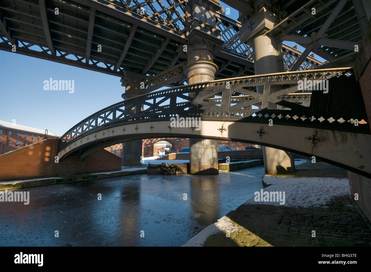 Victorian railway viaducts and bridges in the Castlefield basin Manchester Stock Photo