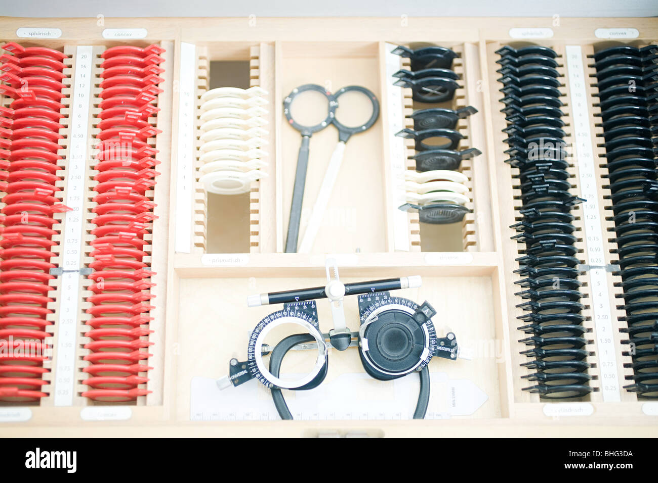 Phoropter and lenses Stock Photo