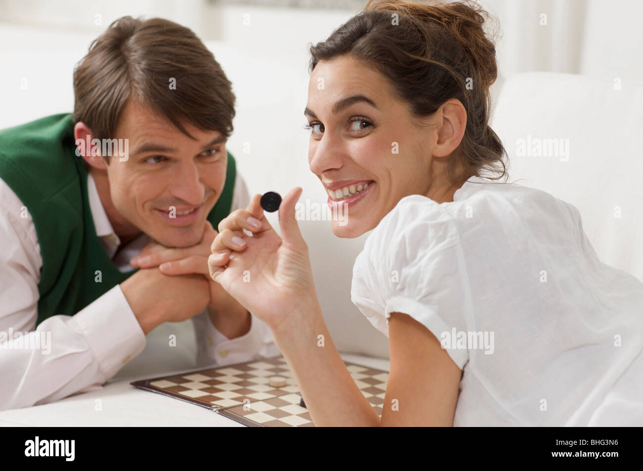 draughts for lovers - Stock Image