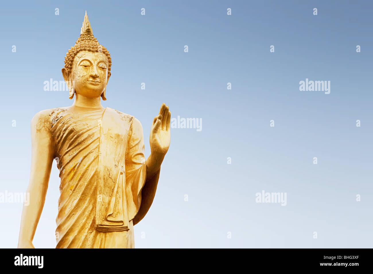 Standing buddha figure in thailand - Stock Image
