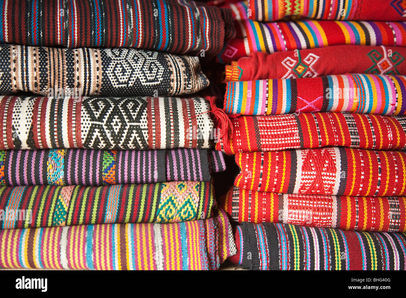 Traditional tais cloth in market in dili east timor - Stock Image