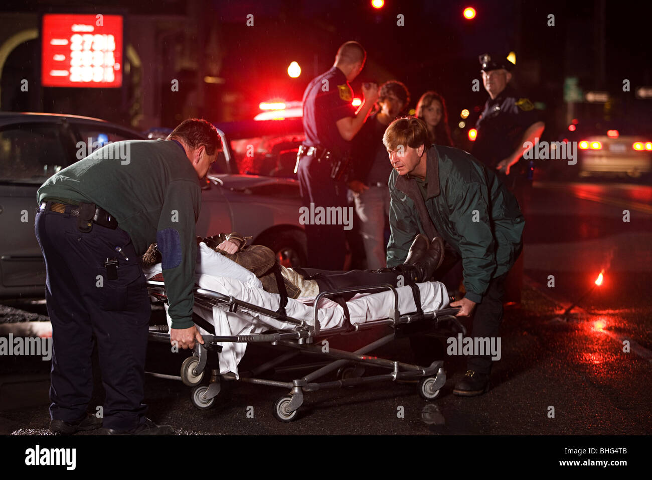 Emergency services at scene of accident - Stock Image