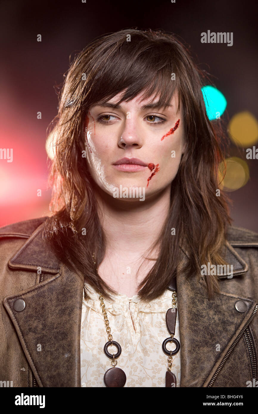Young woman with facial injuries - Stock Image