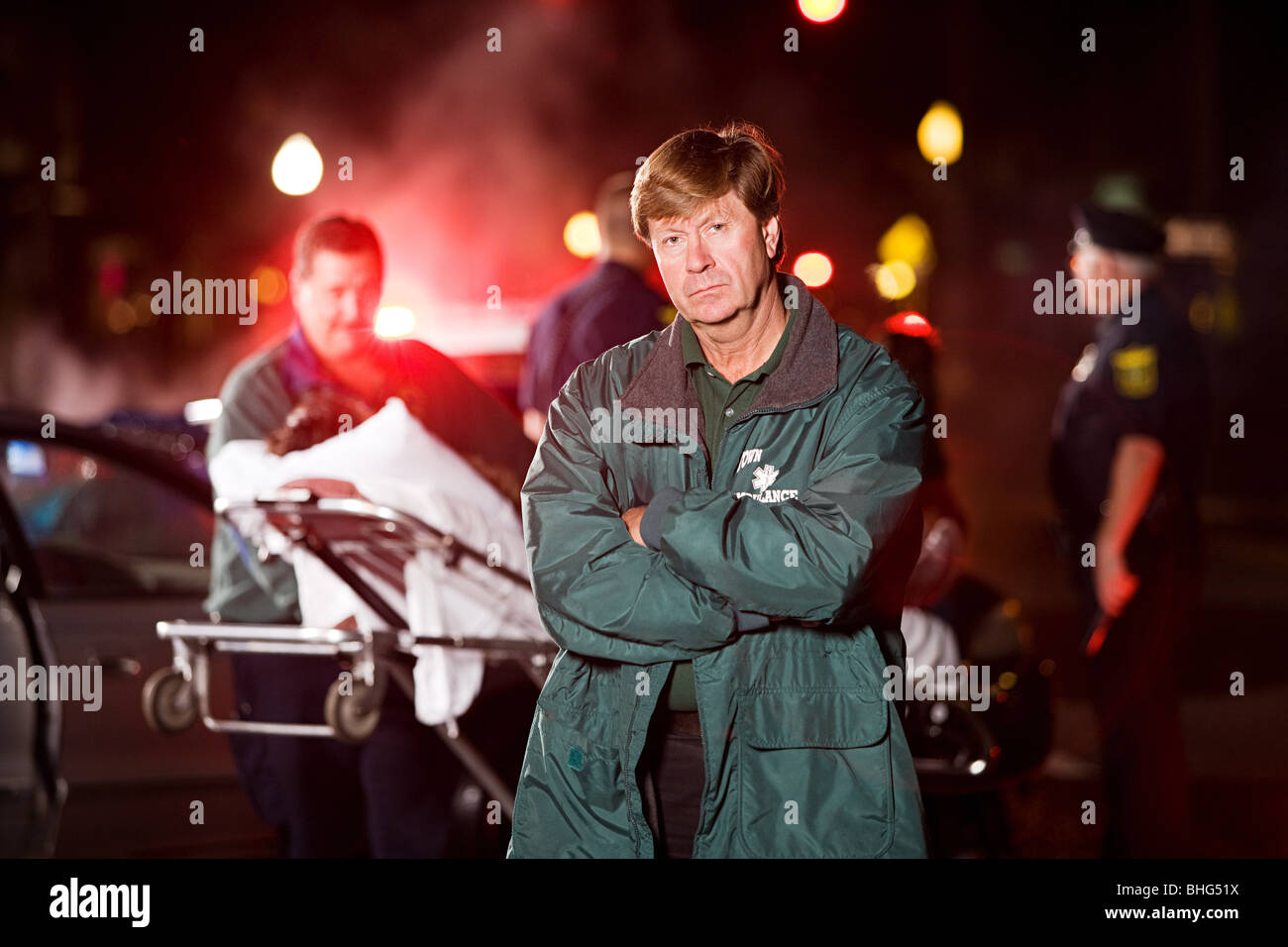 Emergency medical technician at scene of accident Stock Photo