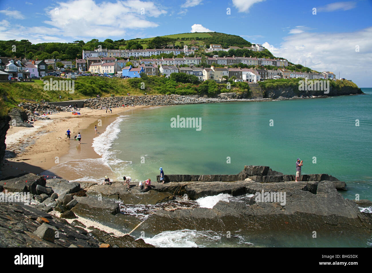 Beach at New Quay, Ceredigion, West Wales, UK - Stock Image