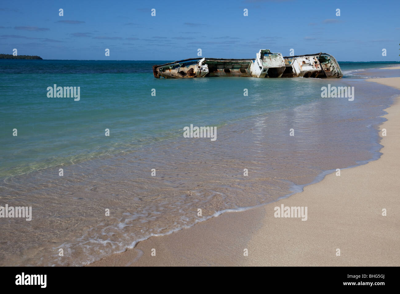 Shipwreck on remote island. - Stock Image