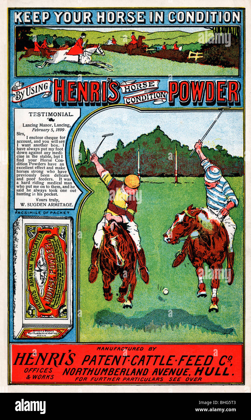 Henris Horse Condition Powder, 1900 advert for the horse medicine illustrated by polo players and ponies - Stock Image